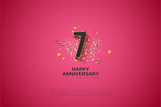 7. rocznica z pozłacanymi numerami