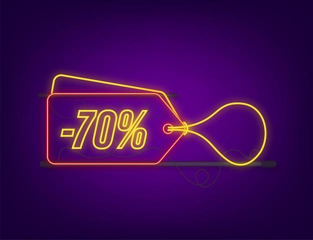 70 procent off wyprzedaż z rabatem neon tag. oferta rabatowa cenowa. 70 procent zniżki promocji płaski ikona z długim cieniem. ilustracja wektorowa.