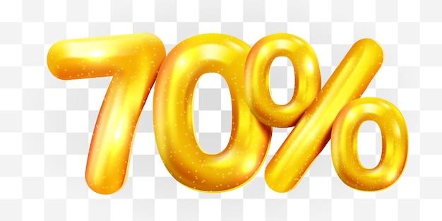 70 procent zniżki na złoty balon mega symbol sprzedaży