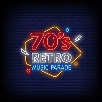 70s retro music parade logo neonowe znaki w stylu tekstu