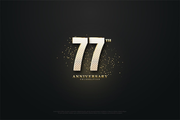 77. rocznica tło ze złotymi kropkami i cyframi