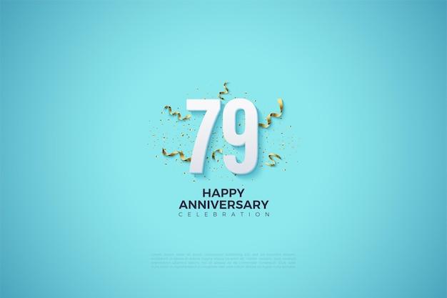 79. rocznica z cyferkami i wstążkami
