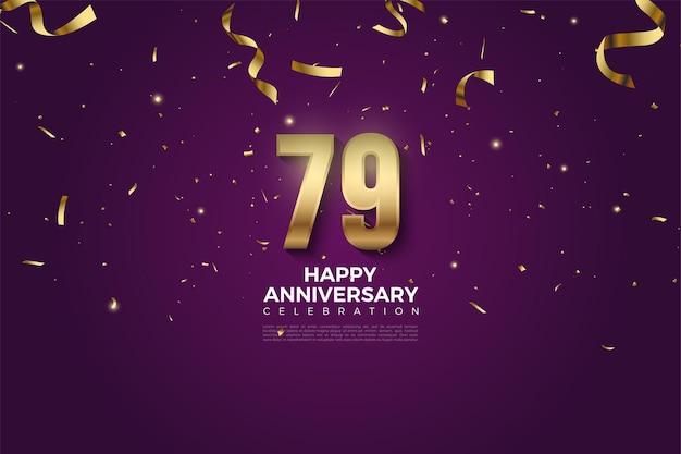 79 rocznica z cyframi i kroplą złotej wstążki