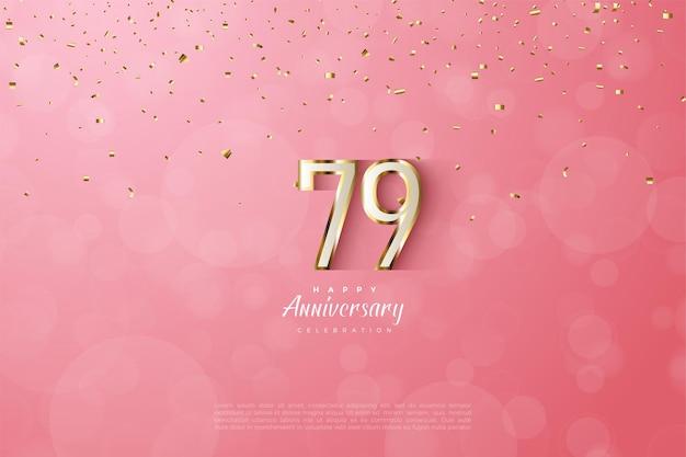 79. rocznica z luksusowymi cyframi w złotej oprawie
