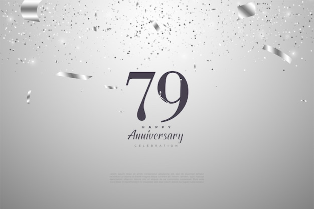 79 rocznica z numerami na srebrnym tle