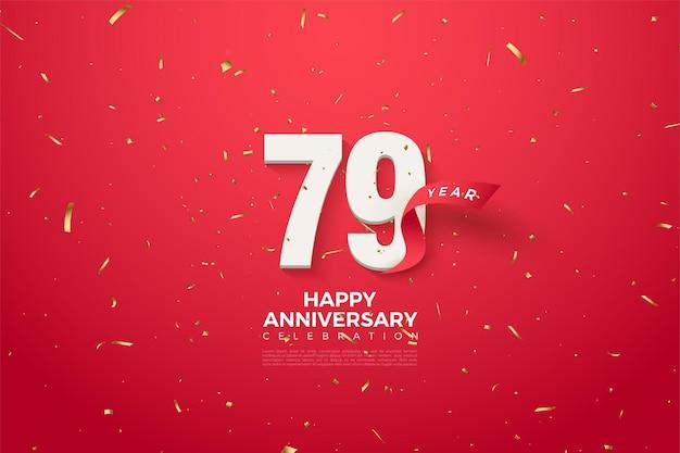 79 rocznica z pięknymi czerwonymi cyframi i wstążką