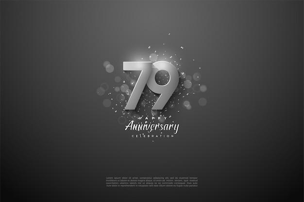 79 rocznica ze wspaniałymi srebrnymi cyframi