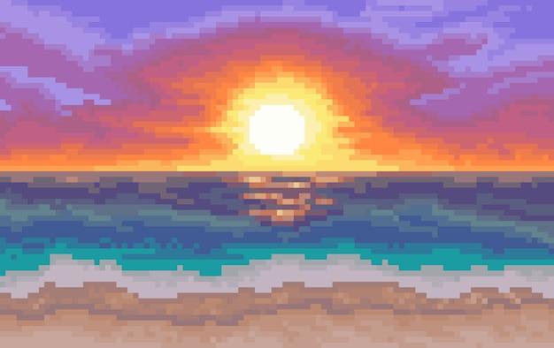8-bitowe tło. plaża ze słońcem i morzem