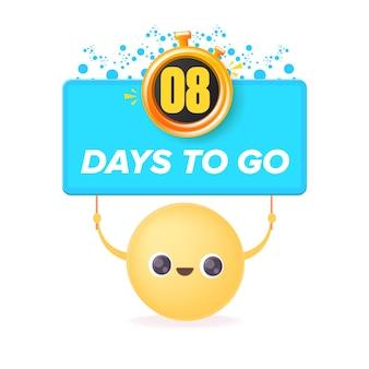 8 dni, aby przejść szablon projektu banera z uśmiechniętą buźką trzymającą odliczanie