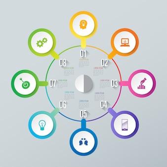 8 kroków biznesowych infographic elementów do prezentacji