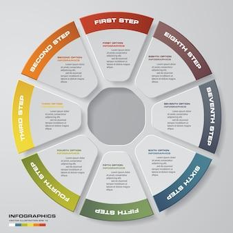 8 kroków infografiki elementy koło wykresu.