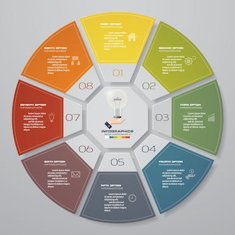 8 kroków infografiki elementy wykresu cyklu.