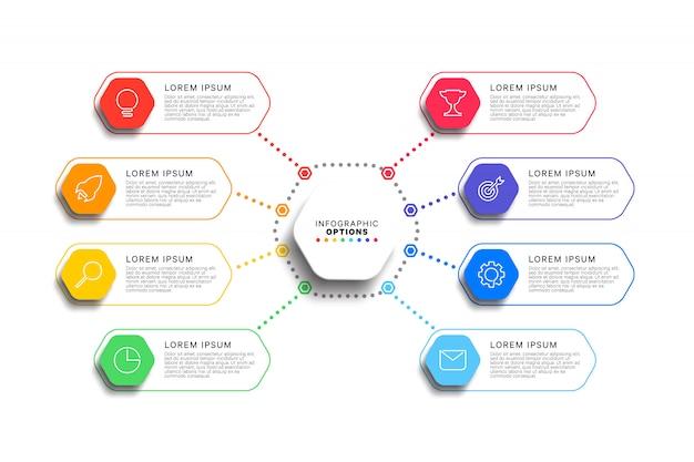 8 kroków infographic szablon z realistycznymi sześciokątnymi elementami na białym tle