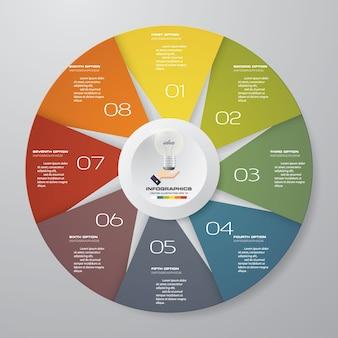 8 kroków nowoczesnego wykresu kołowego elementy infografiki.