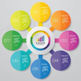 8 kroków proces infografiki element wykresu.