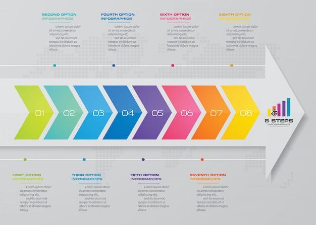 8 kroków strzałek szablon infografiki elementu