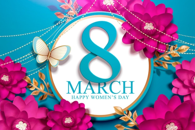 8 marca dzień kobiet z kwiatami w kolorze fuksji w papierowym rzemiośle