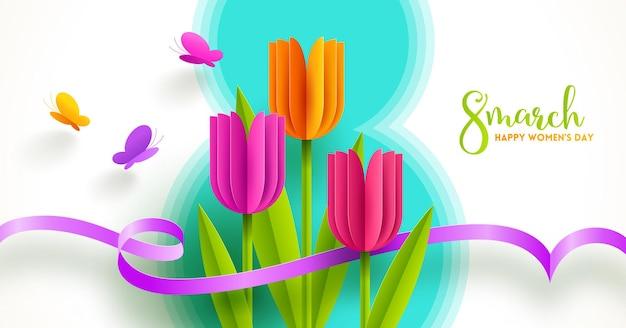 8 marca - ilustracja z okazji międzynarodowego dnia kobiet. kartkę z życzeniami z papierowymi tulipanami i motylami.