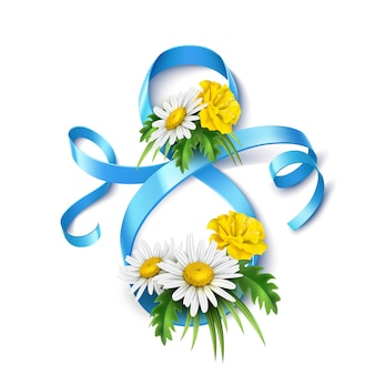 8 marca, jedwabna niebieska wstążka z realistycznym kwiatem diasy
