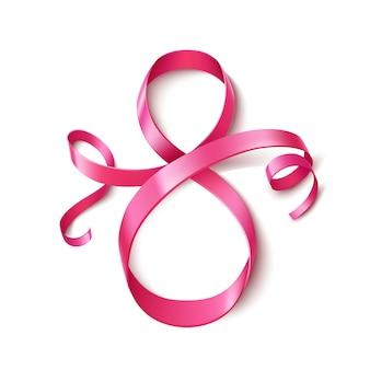 8 marca jedwabna wstążka numer osiem, różowa wstążka numer 8 na międzynarodowy dzień kobiet