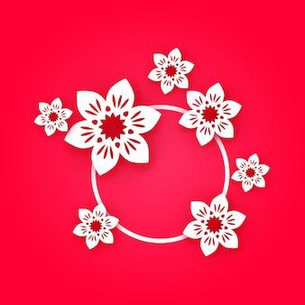 8 marca, karta happy mother's day. białego papieru rżnięci kwiaty na różowym tle.