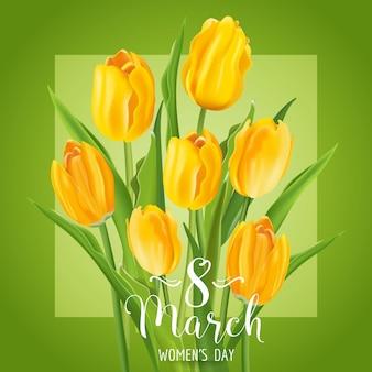 8 marca - kartka z życzeniami z okazji dnia kobiet - z kwiatami żółtych tulipanów - w