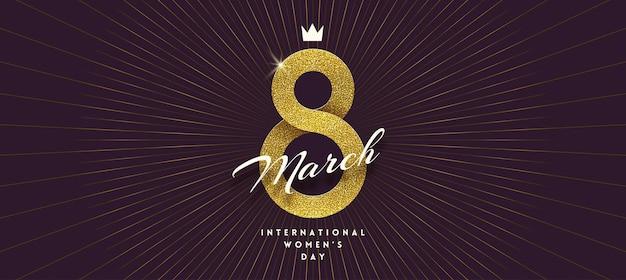 8 marca - kartka z życzeniami z okazji międzynarodowego dnia kobiet. złota wstążka w kształcie znaku ósemki.