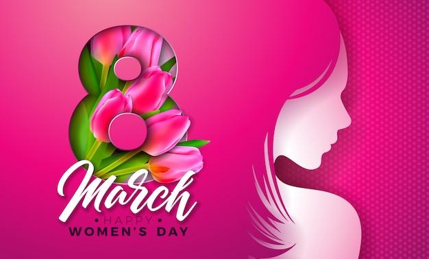 8 marca. kartkę z życzeniami na dzień kobiet z sylwetką młodej kobiety i kwiat tulipana.