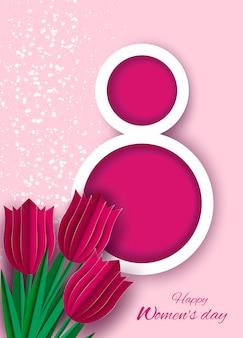 8 marca kartkę z życzeniami na międzynarodowy dzień kobiet. 3d wycięty papier numer 8 z bukietem wiosennych kwiatów tulipanów
