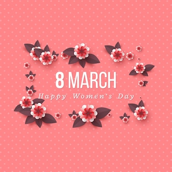 8 marca kartkę z życzeniami na międzynarodowy dzień womans. kwiaty cięte z papieru.