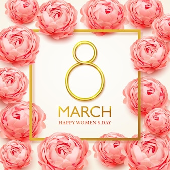 8 marca. kartkę z życzeniami szczęśliwego dnia kobiet z realistycznymi kwiatami różowych piwonii.