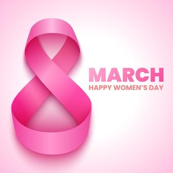 8 marca. kartkę z życzeniami z okazji międzynarodowego dnia kobiet. różowa wstążka. ilustracja.