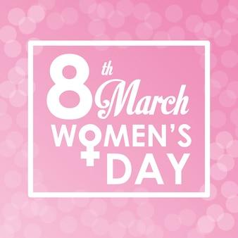 8 marca kobiet dzień karta pęcherzyki tła