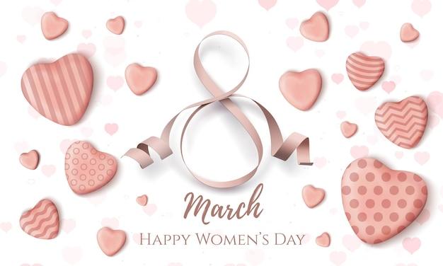 8 marca, międzynarodowy dzień kobiet. minimalistyczny szablon projektu sieci web z realistycznymi cukierkowymi sercami na białym tle.