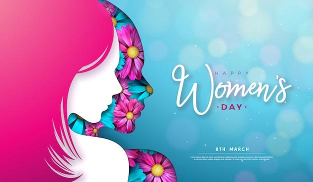 8 marca. projekt karty z pozdrowieniami na dzień kobiet z sylwetką młodej kobiety i kwiatem.