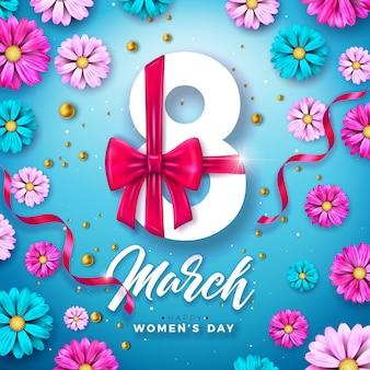 8 marca. projekt obchodów dnia kobiet z listem kwiatowym i typograficznym