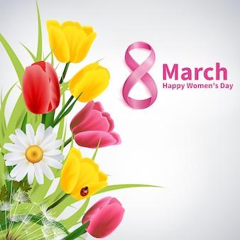 8 marca, szczęśliwy dzień kobiet kartkę z życzeniami