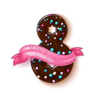 8 marca szczęśliwy dzień kobiet realistyczna ilustracja czekoladowy pączek