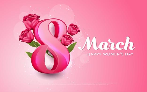 8 marca, szczęśliwy dzień kobiet różowy w realistycznym stylu