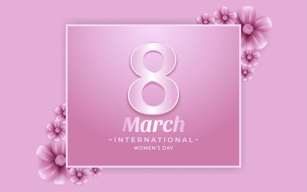 8 marca szczęśliwy dzień kobiet tło z kwiatem w realistycznych ilustracjach stylu