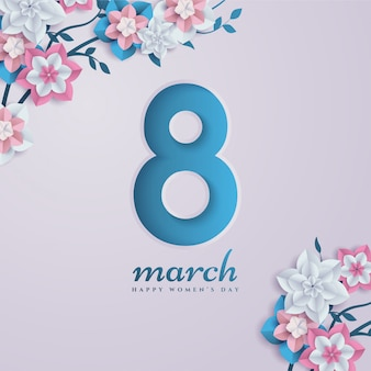 8 marca wycięte z papieru postacie z kwiatami.