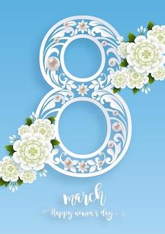 8 marca. z realistyczną kartką z życzeniami pięknego kwiatu. międzynarodowy dzień kobiet.
