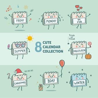 8 śliczny sezon kolekcji postaci kalendarza