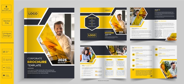 8 stron abstrakcyjny projekt broszuryprofil firmyprojektowanie broszurbroszura półskładanabroszura dwuskładana