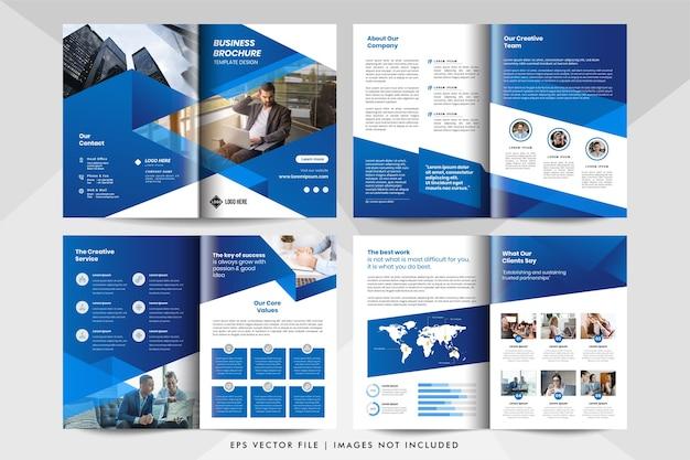 8-stronicowy szablon firmowej broszury biznesowej w kolorze niebieskim.