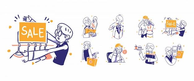 8 zakupy online, ilustracja ikony e-commerce w stylu ręcznie rysowane. wyprzedaż, rabat, promocja, mężczyzna, moda damska, torba, zakup, obsługa klienta, jedzenie, napoje, płatność, koszyk