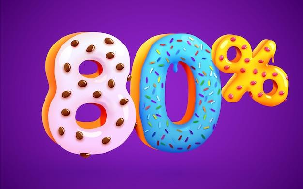80 procent zniżki na deser skład 3d mega symbol sprzedaży z latającymi numerami słodkich pączków