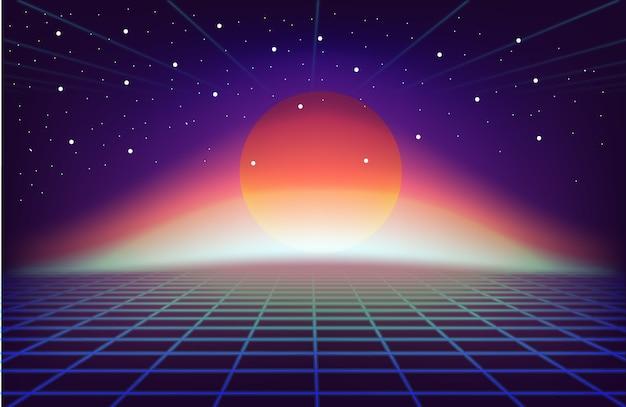 80s retro sci-fi tło z słońcem