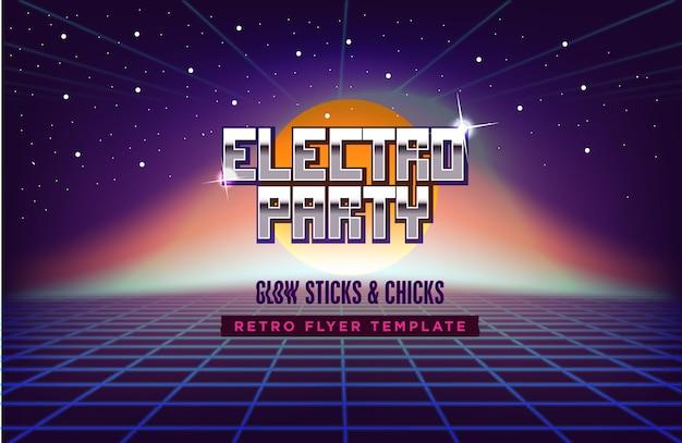 80s retro sci-fi tło