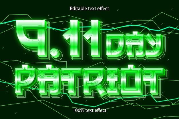 9.11 dzień patrioty edytowalny efekt tekstowy retro neon w nowoczesnym stylu
